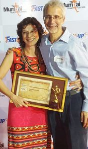 Pervin and Kushru at a Mumbai Road Runners (MRR) awards function (Photo: courtesy Pervin)