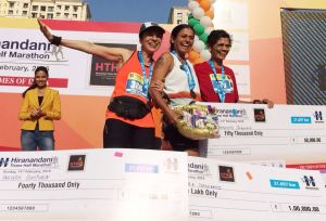 Pervin with Chitra Nadkarni and Vaijayanthi Ingawala after a race (Photo: courtesy Pervin)