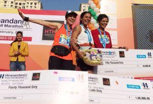 Pervin with Chitra Nadkarni and Vaijayanthi Ingawala after a race (Photo: courtesy Pervin)