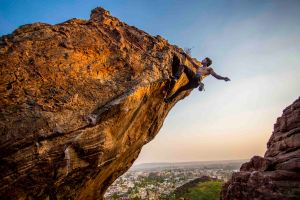Praveen, climbing in Badami (Photo: Jyothy Karat)