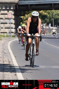 Meena, cycling at the Budapest Half Ironman