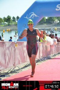 Budapest Half Ironman; Meena just after finishing the swim segment