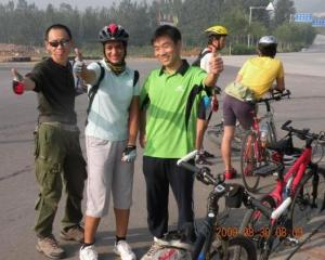 From a weekend cycling trip in China; Meena with friends