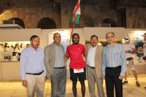 Kieren at the start line of Spartathlon, with officials from the Indian embassy in Greece (Photo: courtesy: Kieren D' Souza)